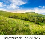 mountain summer landscape. pine forest  near meadow on hillside under cloudy sky - stock photo