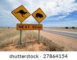 Kangaroo, wombat warning sign at the Nullarbor desert highway in Australia - stock photo
