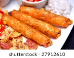 Mexican meat rolls - stock photo