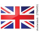 Glossy vector illustration of the Union Jack, the British flag - stock vector