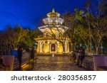 "Memorial hall at ""Kao Rang"" hill in the night time, Phuket, Thailand - stock photo"