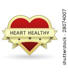 Heart Healthy label or sticker for food and product packaging - vector suitable for web or print use - stock vector