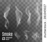 Raster version. Set of transparent smoke on a plaid background  - stock photo