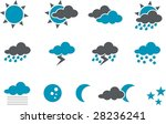 Vector icons pack - Blue Series, weather collection - stock vector