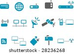 Vector icons pack - Blue Series, communication collection - stock vector
