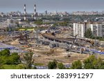 St. Petersburg, Russia - May 30, 2015: Top view of the construction of the viaduct junctions Pulkovo roadway and Dunaisky prospect. - stock photo