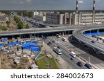 St. Petersburg, Russia - May 29, 2015: Top view of the unfinished road interchange at the intersection of Avenue Piskaryovsky, with the Nepokarennyh Avenue. - stock photo