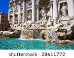 Famous Trevi Fountain in the center of Rome, Italy - stock photo