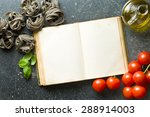 top view of blank cookbook and ingredients - stock photo