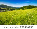 village in mountains behind the agricultural meadow with flowers on  hillside - stock photo