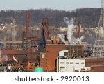 Steel mill blast furnaces - stock photo