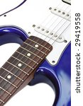 vintage midnight blue electric guitar with rosewood fretboard - stock photo