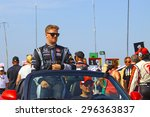 Milwaukee Wisconsin, USA - July 12, 2015: Verizon Indycar Series Indyfest ABC 250 at the Milwaukee Mile. Driver introductions before the race James Jakes. - stock photo
