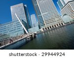 A dinamic angle picture of Skyscrapers of Canary Wharf. - stock photo