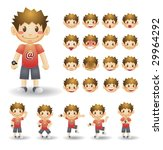 cute face icons set - stock photo