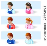 people icons - child and teenage - stock vector