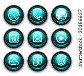 green and black mobile button icons - stock vector