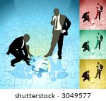 Fitting the final piece of the jigsaw. Two business people solving a jigsaw puzzle in partnership, main image on separate layers for easy editing. Also includes several different color versions - stock vector