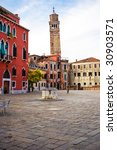 Typical venetian square at morning - stock photo
