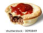 Australian meat pie and tomato sauce. - stock photo