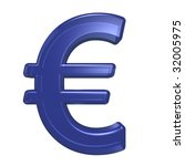 Euro sign from blue glass alphabet set, isolated on white. Computer generated 3D photo rendering. - stock photo