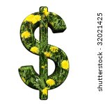 Dollar sign from floral alphabet set, isolated on white. Computer generated 3D photo rendering. - stock photo