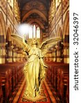 angel walking in beautiful cathedral in gold tonality - stock photo