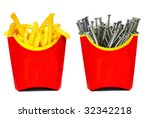 French fries in a red box - stock photo