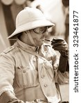 FORT GEORGE, SCOTLAND - AUGUST 8: Unidentified actor in WW2 Desert Rat (7th Armoured Division) costume at Fort George, Scotland, 8 August 2015 - stock photo