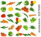 Collage of vegetables - tomato,carrots, sweet pepper,  lettuce, young onion  and cucumbers  . Isolated - stock photo