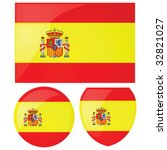 Vector illustration of the Spanish flag, alongside a round and shield emblems - stock vector