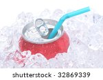 Single soda can in ice with drinking straw white background copy space - stock photo