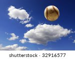 Baseball flying through the air with clouds and sky in background - stock photo