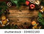 Christmas food. Gingerbread man cookies in Christmas setting. Xmas dessert - stock photo