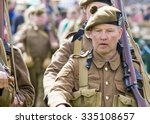 FORT GEORGE, SCOTLAND - AUGUST 8: Unidentified actors in WW2 Home Guard Costume at Fort George, Scotland, 8 August 2015 - stock photo