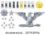 Set of military american army officer ranks insignia icons - stock vector