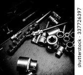 Tools at a car workshop - stock photo