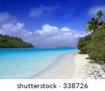 Lagoon meets the Pacific - Aitutaki - stock photo