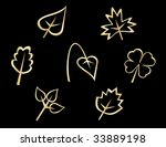 Set of leaves icons isolated on background - abstract emblems template.  Jpeg version also available - stock vector