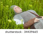 woman / medieval armor / historical story - stock photo