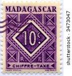 Vintage World Postage Stamp Ephemera madagascar(editorial) - stock photo