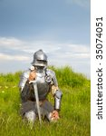 knight, after the battle /  summer - stock photo