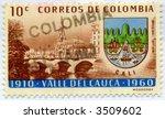 Vintage World Postage Stamp Ephemera (editorial) columbia - stock photo