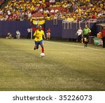 EAST RUTHERFORD NJ - AUGUST 12: Pablo Armero #7 of Colombia handles the ball against Venezuela during the International Friendly match at Giants Stadium on August 12 2009 in East Rutherford NJ - stock photo