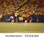 EAST RUTHERFORD NJ - AUGUST 12: midair collision for the ball during the International Friendly match Venezuela Colombia at Giants Stadium on August 12 2009 in East Rutherford NJ - stock photo