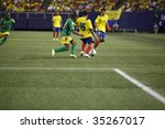 EAST RUTHERFORD NJ - AUGUST 12: Jefferson Montero #15 of Ecuador handles the ball against Jamaica during the International Friendly match at Giants Stadium on August 12 2009 in East Rutherford NJ - stock photo