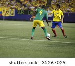 EAST RUTHERFORD NJ - AUGUST 12: Pablo Palacios #17 of Ecuador handles the ball against Jamaica during the International Friendly match at Giants Stadium on August 12 2009 in East Rutherford NJ - stock photo