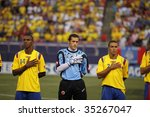EAST RUTHERFORD NJ - AUGUST 12: Team Colombia poses during the International Friendly match against Ecuador at Giants Stadium on August 12 2009 in East Rutherford NJ - stock photo