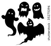 Set of ghost silhouettes for halloween or spooky designs. - stock vector