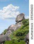 Stone rock Similan Islands Thailand, Phuket on sky background - stock photo